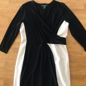 Lauren Ralph Lauren 16 Black White Cocktail Dress